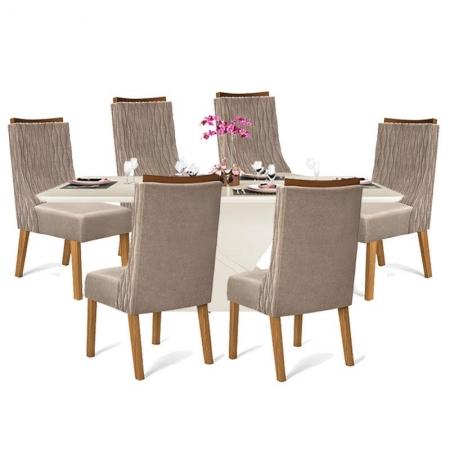 Mesa de Jantar Turquesa Off White Tampo Curvo com 6 Cadeiras Demolição Veludo Kraft - DJ Móveis