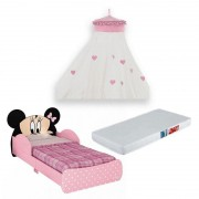 Mini Cama Infantil Minnie Disney 7A com Dossel e Colchão - Pura Magia