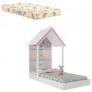 Mini Cama Infantil Montessoriana Casa de Boneca Branco com Colchão 150x70cm Umaflex - Pura Magia