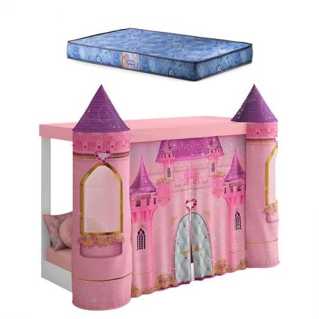 Mini Cama Montessoriana com Dossel Castelo Rosa e Colchão Gazin - Pura Magia