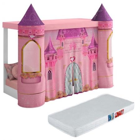 Mini Cama Montessoriana com Dossel Castelo Rosa e Colchão Ortobom - Pura Magia