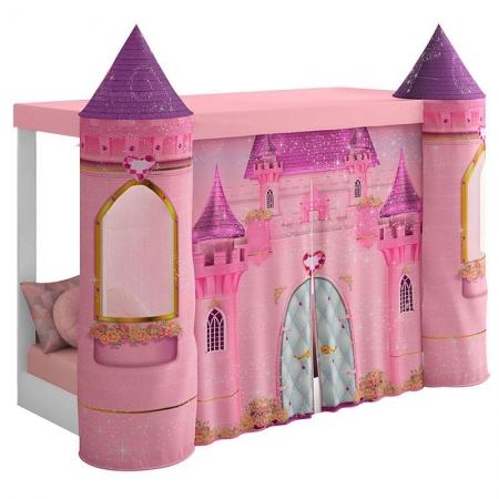 Mini Cama Montessoriana com Dossel Castelo Rosa - Pura Magia