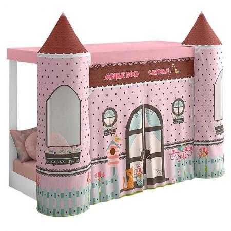 Mini Cama Montessoriana com Dossel Doce Casinha Rosa com Led - Pura Magia