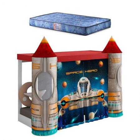 Mini Cama Montessoriana com Dossel Space Vermelho com Colchão Gazin - Pura Magia