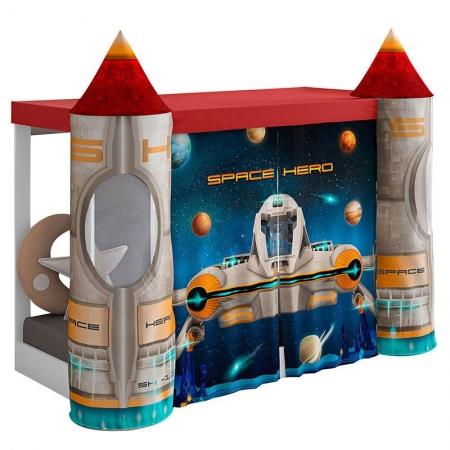 Mini Cama Montessoriana com Dossel Space Vermelho com Led - Pura Magia