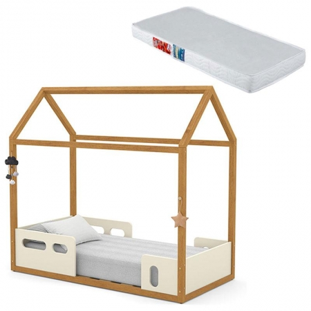 Mini Cama Montessoriana Liv Off White Freijó com Colchão - Matic