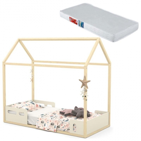 Mini Cama Montessoriana Liv Off White Natural com Colchão - Matic