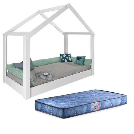 Mini Cama Montessoriana Tiny House 21A Branco Acetinado com Colchão Gazin - Pura Magia