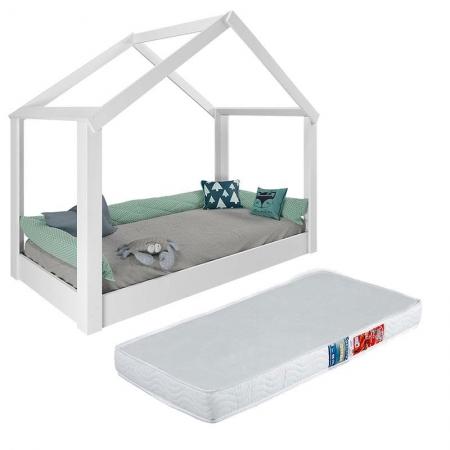 Mini Cama Montessoriana Tiny House 21A Branco Acetinado com Colchão Ortobom - Pura Magia