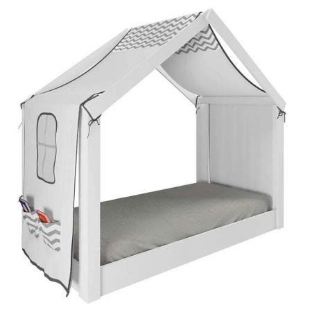 Mini Cama Montessoriana Tiny House com Dossel ZigZag 21A- Pura Magia
