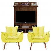 Painel Para Tv Açores Havana e Kit 2 Poltronas Decorativas Diplomata Amarelo - Caemmun