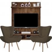 Painel Para Tv Açores Jatobá e Kit 2 Poltronas Decorativas Bella Marrom - Caemmun