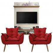 Painel Para Tv Açores Off White Buriti e Kit 2 Poltronas Decorativas Diplomata Vermelho - Caemmun