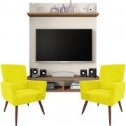 Painel Para Tv Açores Off White Buriti e Kit 2 Poltronas Decorativas Nina Amarelo - Caemmun