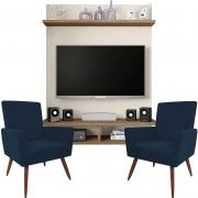 Painel Para Tv Açores Off White Buriti e Kit 2 Poltronas Decorativas Nina Azul Marinho - Caemmun