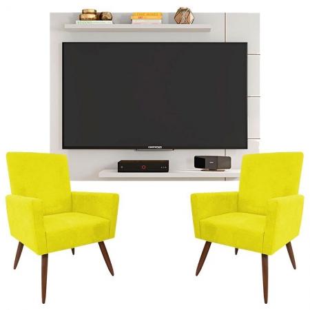 Painel Para Tv Cross Branco Brilho e Kit 2 Poltronas Decorativas Nina Amarelo - Caemmun