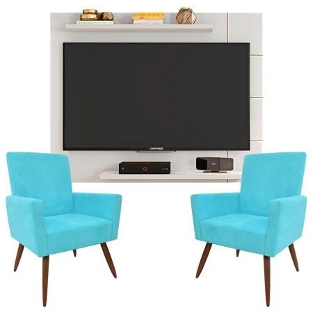 Painel Para Tv Cross Branco Brilho e Kit 2 Poltronas Decorativas Nina Azul Turquesa - Caemmun