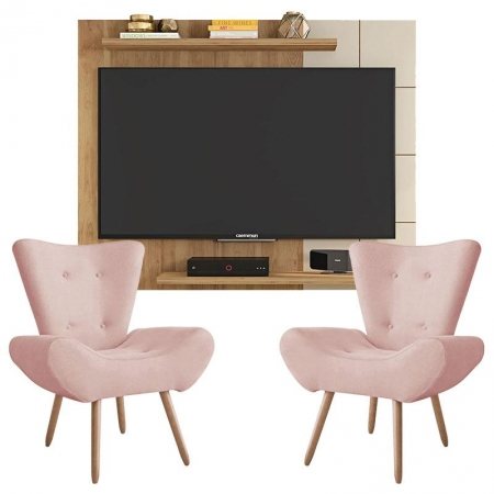 Painel Para Tv Cross Buriti Off White e Kit 2 Poltronas Decorativas Bella Rosê - Caemmun
