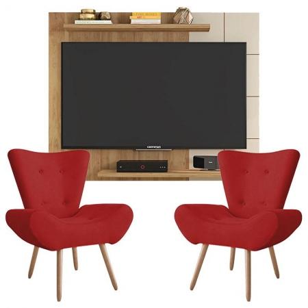 Painel Para Tv Cross Buriti Off White e Kit 2 Poltronas Decorativas Bella Vermelho - Caemmun