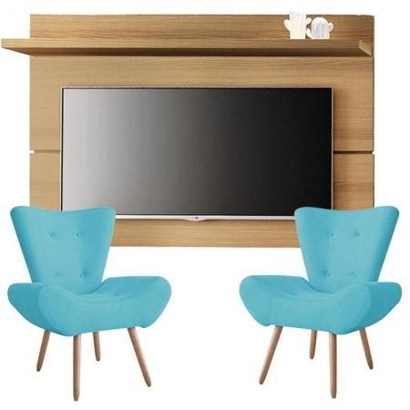 Painel para TV Rivera 1.8 Freijó e Kit 2 poltronas decorativas Bella Azul Turquesa - HB Móveis