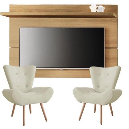 Painel para TV Rivera 1.8 Freijó e Kit 2 poltronas decorativas Bella Bege - HB Móveis