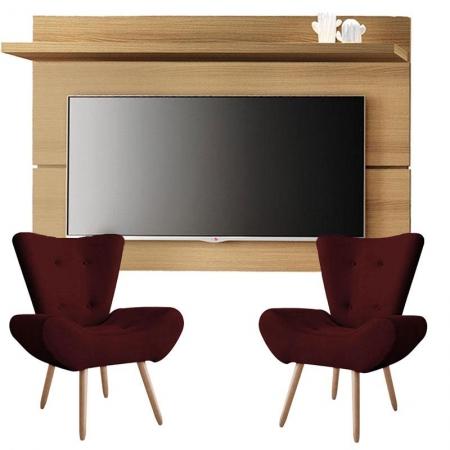 Painel para TV Rivera 1.8 Freijó e Kit 2 poltronas decorativas Bella Bordô - HB Móveis