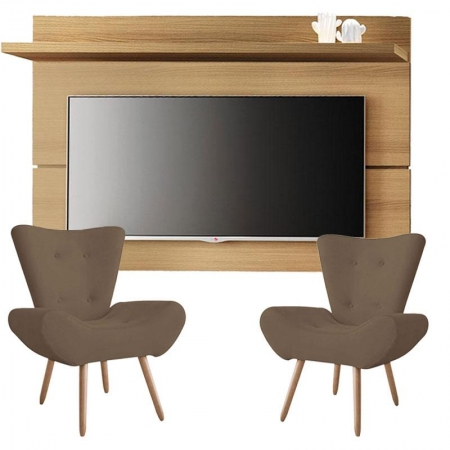 Painel para TV Rivera 1.8 Freijó e Kit 2 poltronas decorativas Bella Capuccino - HB Móveis