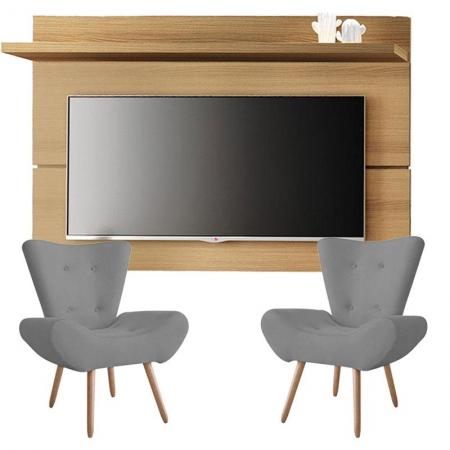 Painel para TV Rivera 1.8 Freijó e Kit 2 poltronas decorativas Bella Cinza - HB Móveis