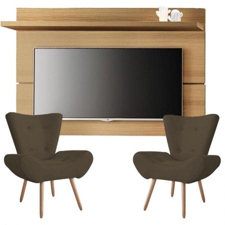 Painel para TV Rivera 1.8 Freijó e Kit 2 poltronas decorativas Bella Marrom - HB Móveis