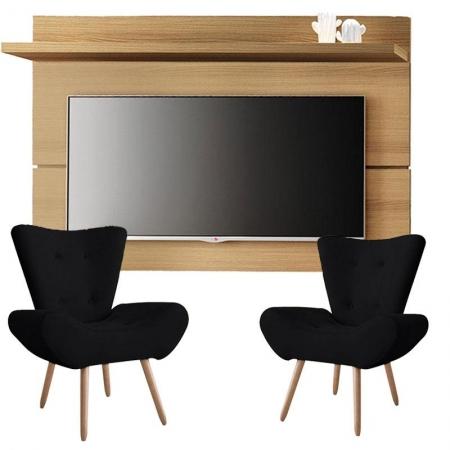 Painel para TV Rivera 1.8 Freijó e Kit 2 poltronas decorativas Bella Preto - HB Móveis
