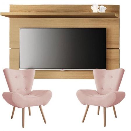 Painel para TV Rivera 1.8 Freijó e Kit 2 poltronas decorativas Bella Rose - HB Móveis