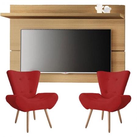 Painel para TV Rivera 1.8 Freijó e Kit 2 poltronas decorativas Bella Vermelho - HB Móveis