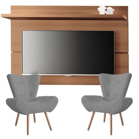 Painel para TV Rivera 1.8 Nature e Kit 2 poltronas decorativas Bella Cinza - HB Móveis