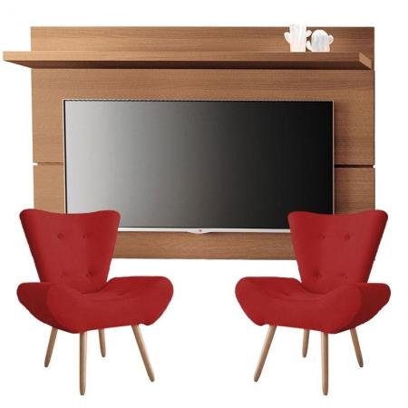 Painel para TV Rivera 1.8 Nature e Kit 2 poltronas decorativas Bella Vermelho - HB Móveis