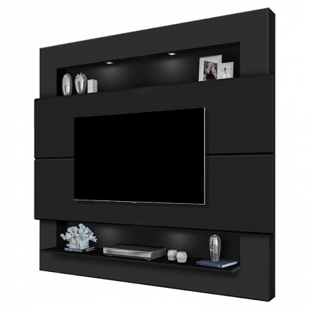 Painel para TV Riviera 2.1 Preto Fosco - Luapa Móveis