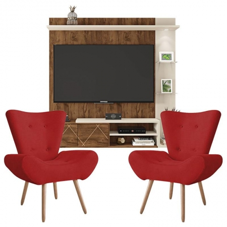 Painel Para Tv Tramma Jatobá Off white e Kit 2 Poltronas Decorativas Bella Vermelho - Caemmun