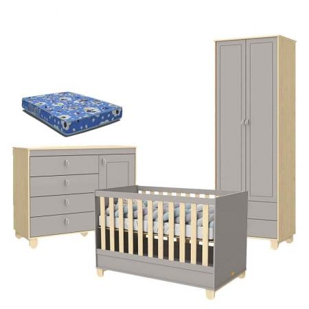 Quarto de Bebê 2 Portas Cômoda com Porta Rope Natural Cinza com Colchão - Matic