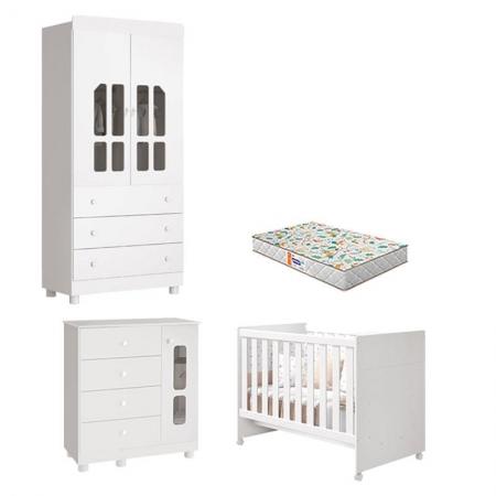 Quarto de Bebê 2 Portas Katatau Flex Branco Brilho com Colchão Gazin - Reller