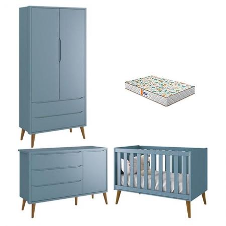 Quarto de Bebê 2 Portas Theo Azul Pés Amadeirados com Colchão Gazin - Reller