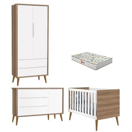 Quarto de Bebê 2 Portas Theo Branco Mezzo Pés Amadeirados com Colchão Gazin - Reller