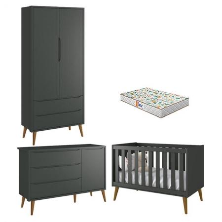 Quarto de Bebê 2 Portas Theo Grafite Pés Amadeirados com Colchão Gazin - Reller