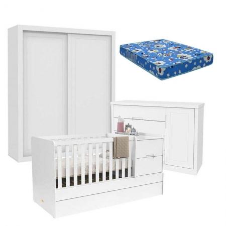 Quarto de Bebê 2 Portas Tutto New com Berço Multifuncional Formare Branco Acetinado e Colchão - Matic
