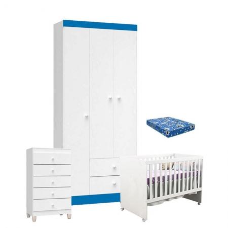 Quarto de Bebê 3 Portas com Gaveteiro Ternura Baby e Berço Gabi Branco Azul com Colchão - Incorplac