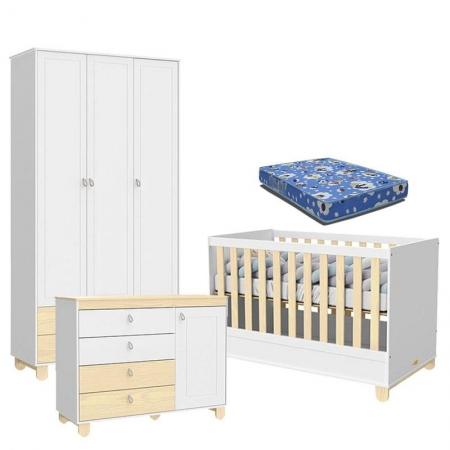 Quarto de Bebê 3 Portas Cômoda com Porta Rope Branco Acetinado Natural com Colchão - Matic
