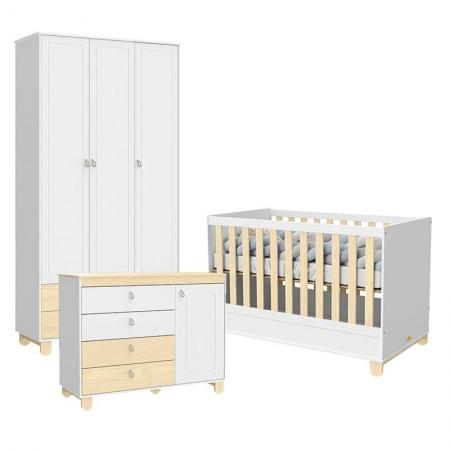 Quarto de Bebê 3 Portas Cômoda com Porta Rope Branco Acetinado Natural - Matic