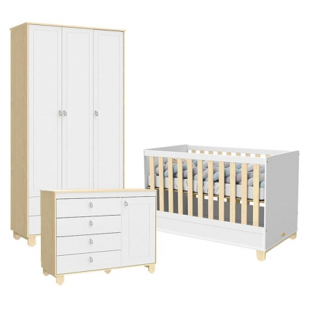 Quarto de Bebê 3 Portas Cômoda com Porta Rope Natural Branco Acetinado - Matic