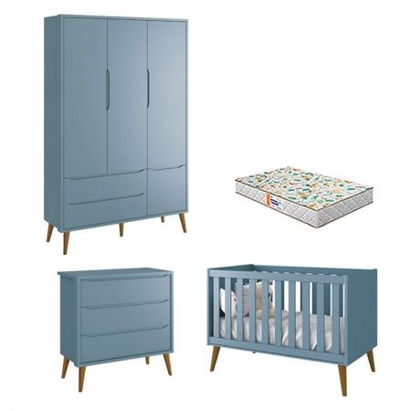 Quarto de Bebê 3 Portas e Cômoda Gaveteiro Theo Azul Pés Amadeirados com Colchão Gazin - Reller