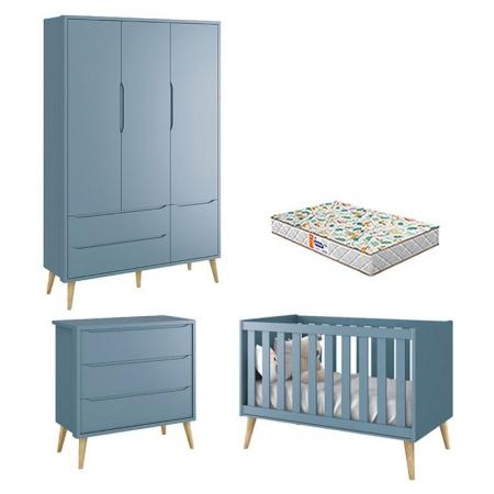 Quarto de Bebê 3 Portas e Cômoda Gaveteiro Theo Azul Pés Madeira Natural com Colchão Gazin - Reller