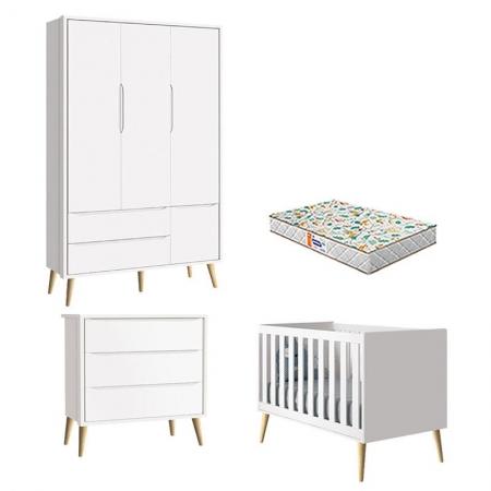 Quarto de Bebê 3 Portas e Cômoda Gaveteiro Theo Branco Pés Madeira Natural com Colchão Gazin - Reller