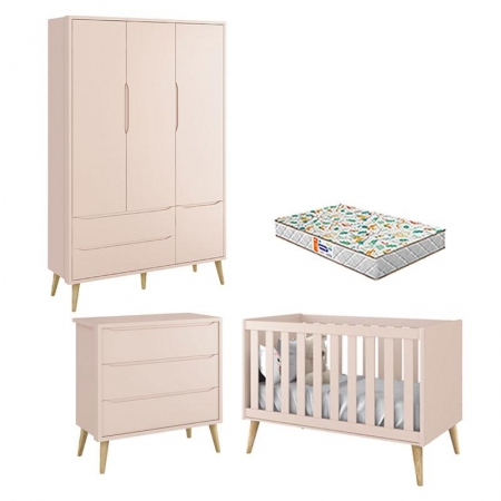 Quarto de Bebê 3 Portas e Cômoda Gaveteiro Theo Rosa Pés Madeira Natural com Colchão Gazin - Reller